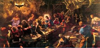 Das Abendmahl mit Engeln von Tintoretto (1518-1594)
