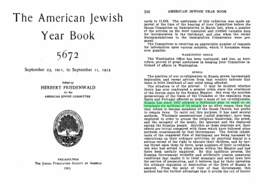The American Jewish Year Book 1912